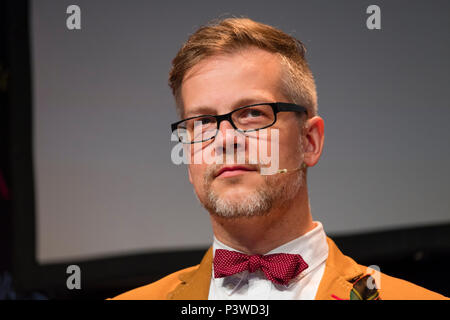 Jacek Dehnel,   Polish poet, writer, translator and painter, pictured at the 2018 Hay Festival of Literature and the Arts.  The annual festival  in the small town of Hay on Wye on the Welsh borders , attracts  writers and thinkers from across the globe for 10 days of celebrations of the best of the written word, political though  and literary debate - Stock Photo
