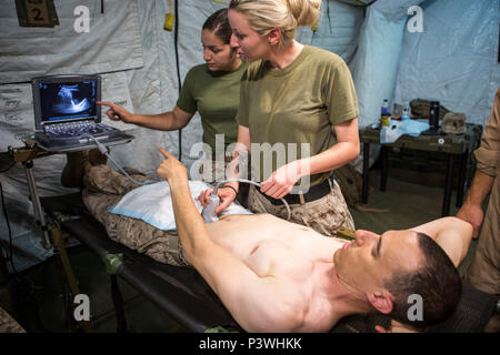 U.S. Navy Hospital Corpsman 2nd Class Ashley Tockweiler practices proper positioning procedures on U.S. Navy Lt. Cmdr. Robert Oldt, an emergency physician, both with Special Purpose Marine Air-Ground Task Force-Crisis Response-Africa using a Focused Assessment with Sonogram in Trauma exam, July 21, 2016. SPMAGTF-CR-AF medical personnel conducted FAST exams using a medical tent, or Shock Trauma Platoon, containing a surgical suite, called a Forward Resuscitative Surgical System, which makes it possible for forward deployed doctors to perform lifesaving surgical procedures in the event of a cris - Stock Photo