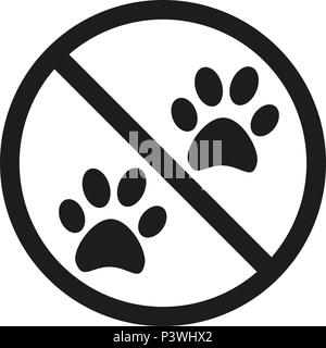 No animals allowed silhouette sign - Stock Photo