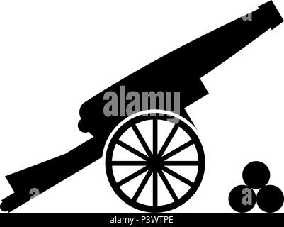 Medieval cannon firing cores icon black color vector I flat style simple image - Stock Photo
