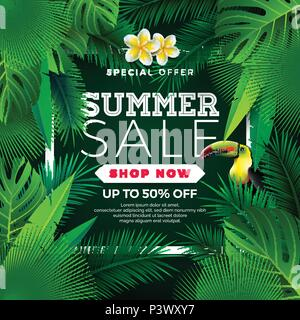 Summer Sale Design with Flower, Toucan and Exotic Leaves on Green Background. Tropical Floral Vector Illustration with Special Offer Typography Elements for Coupon, Voucher, Banner, Flyer, Promotional Poster, Web Site Invitation or greeting card. - Stock Photo
