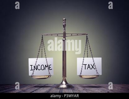 Income tax balance finance books scales concept - Stock Photo
