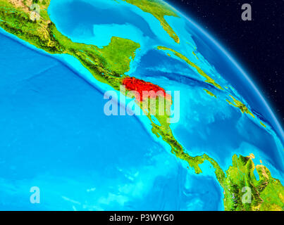 Space view of Honduras highlighted in red on planet Earth. 3D illustration. Elements of this image furnished by NASA. - Stock Photo