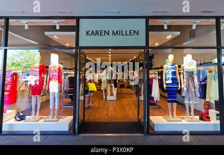 3d6f96e3014 Shop frontage of the Karen Millen store at the Cheshire Oaks Designer Outlet,  Ellesmere Port