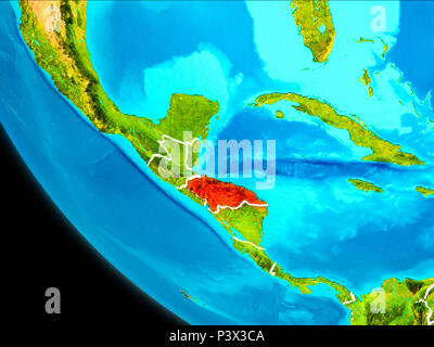 Honduras highlighted in red on planet Earth with visible borders. 3D illustration. Elements of this image furnished by NASA. - Stock Photo