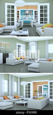 Three views of modern interior loft design with sofas 3d Rendering - Stock Photo
