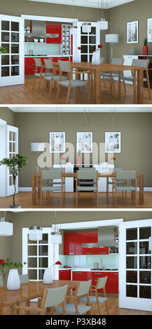 Three views of modern interior loft design 3d Rendering Stock Photo