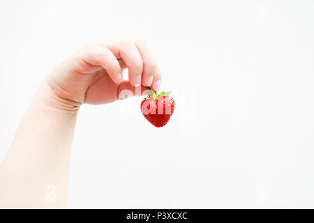 A hand holds up a perfect strawberry. Bright picture in front of white background