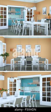 Three views of modern interior loft design 3d Rendering Stock Photo