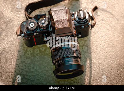 Nikon F3 single lens reflex 35mm professional film camera, First launched in 1980 and remained in production until 2001