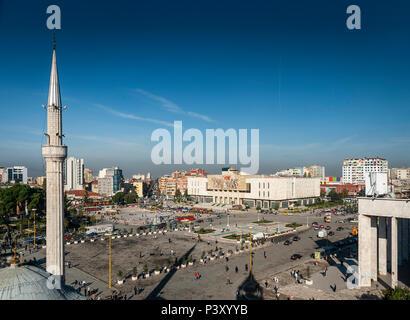 skanderberg main square and mosque landmark in central tirana city albania - Stock Photo
