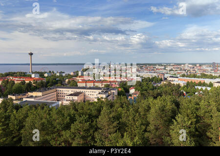 Näsinneula observation tower and the city of Tampere, Finland, viewed from above on a sunny day in the summer. - Stock Photo