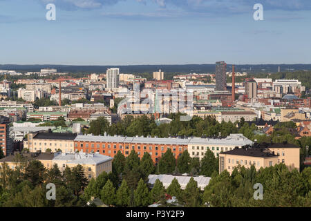 Buildings in downtown Tampere, Finland, viewed from above on a sunny day in the summer. - Stock Photo