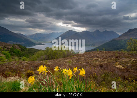 View over Loch Duich and the mountain summits of the Five Sisters of Kintail from Bealach Ratagain / Ratagan viewpoint, Highland, Scotland, UK - Stock Photo