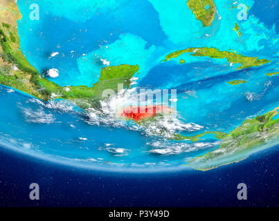 Honduras highlighted in red on planet Earth with clouds. 3D illustration. Elements of this image furnished by NASA. - Stock Photo