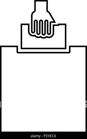 Hand puts a blank in a box for suggestion the voter throws a ticket icon black color vector I flat style simple image - Stock Photo