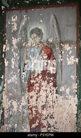 angel old fresco on the wall - Stock Photo