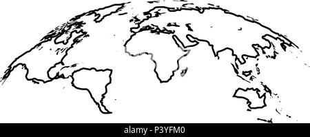 Map of world 3d effect surface icon black color vector I flat style simple image - Stock Photo