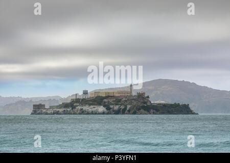 Views of Alcatraz Island from San Francisco. - Stock Photo