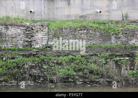 I & M Canal scenery at historic Lemont, Illinois. - Stock Photo