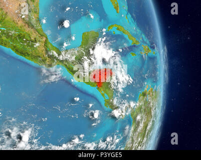 Space view of Honduras highlighted in red on planet Earth with atmosphere. 3D illustration. Elements of this image furnished by NASA. - Stock Photo