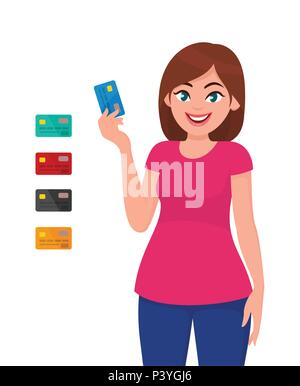 Young woman holding and showing credit card or debit cart. Banking and payment concept. Multiple banking cards. Vector illustration in cartoon style. - Stock Photo