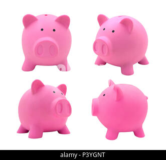 Pink piggy bank collection set made from plastic isolated on white background for your business concept design. - Stock Photo
