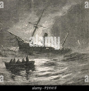 A ship on fire at Sea, 19th Century illustration - Stock Photo