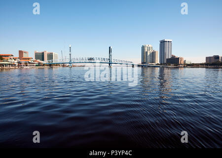Downtown Jacksonville and Main Street Bridge over the St. Johns River - Stock Photo