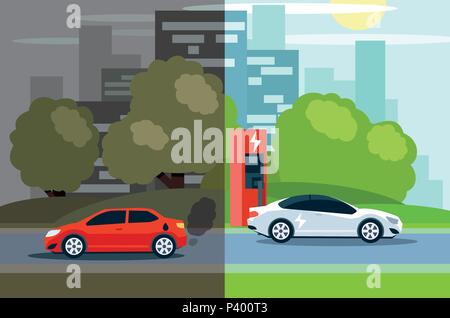 Illustration of comparison between electric environmentally friendly and gas polluting car. - Stock Photo