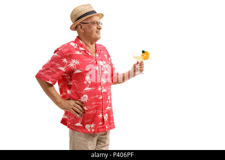 Elderly tourist with a cocktail isolated on white background - Stock Photo