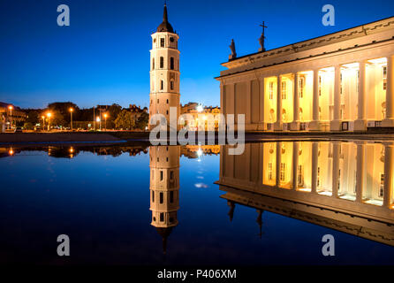 Vilnius, Lithuania, Cathedral and Bell Tower at dusk after a rain storm - Stock Photo