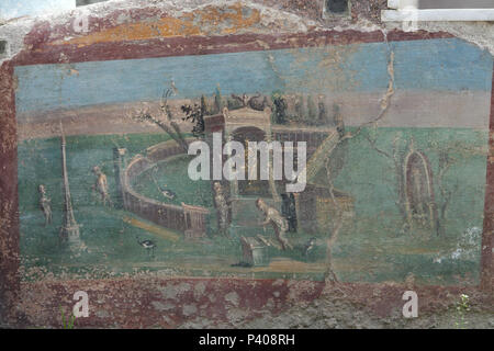Nilotic landscape with a statue of the deity Isis-Fortuna in an aedicula depicted in the Roman fresco in the summer triclinium (Roman dining room) of the House of the Ephebe (Casa dell'Efebo) in the archaeological site of Pompeii (Pompei) near Naples, Campania, Italy. - Stock Photo