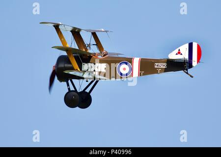 Sopwith Triplane  'Dixie II' replica of First World War fighter built by the Northern Aeroplane Workshops and now part of the Shuttleworth collection - Stock Photo