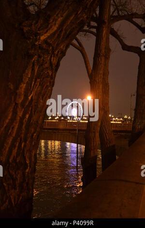 Les grandes crus à Paris - Les quais de Seine ne sont plus accessibles : l'eau est montée. Du Trocadéro à Bercy, en passant par la bibliothèque François Mitterrand, des quais Mauriac à l'Ile Saint Louis, un paysage jamais vu en février 2018 et 2016 - Stock Photo