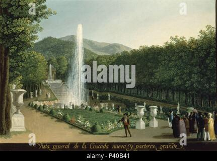 VISTA GENERAL DE LA CASCADA NUEVA Y PARTERRE GRANDE - SIGLO XIX. Author: Fernando Brambila (1763-1832). Location: PALACIO REAL-PINTURAS, ARANJUEZ, MADRID, SPAIN. - Stock Photo