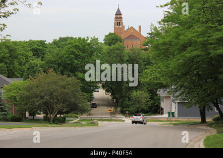 I & M Canal scenery and St Cyril church at historic Lemont, Illinois. - Stock Photo