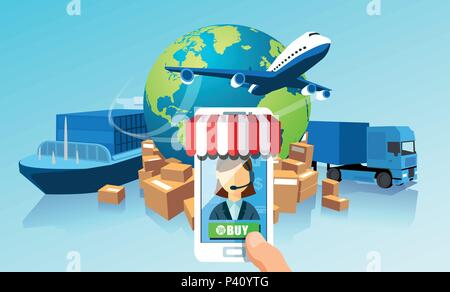 Transportation delivery logistics network via mobile app technology concept. Global shipping of cargo by air trucking rail transportation maritime - Stock Photo