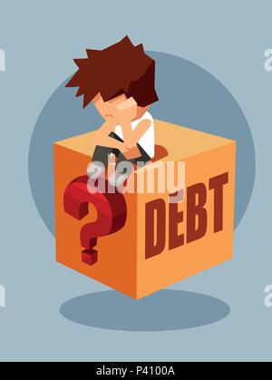 Debt concept. Vector of a sad man sitting on a question box thinking how to pay back borrowed money - Stock Photo
