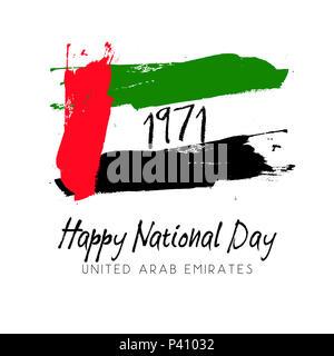 Grunge style image for United Arab Emirates National Day - Stock Photo