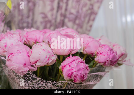 Big bouquet of pink peonies on blurred background, copy space.Beautiful flowers bouquet. holiday background. Greeting card.Happy Birthday, Valentines Day, Mothers Day concepts. - Stock Photo