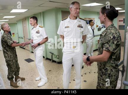 Logistics Group Western Pacific commander Adm. Donald Gabrielson and Navy Medicine West commander Adm. Paul Pearigen talking with hospital ship USNS Mercy (T-AH 19) crew members, Nha Trang, Vietnam, May 23, 2018. Image courtesy Chief Petty Officer Jackey Smith / Commander, Logistics Group Western Pacific. () - Stock Photo