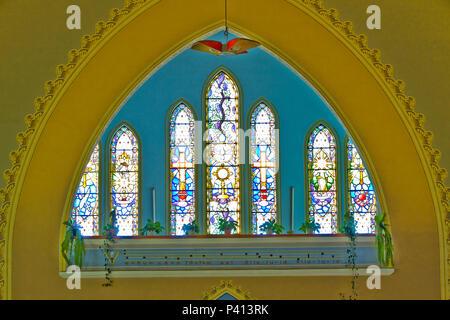 Igreja de Santo Antonio Vitral Grafismo Monte Belo do Sul Vale dos Vinhedos Rio Grande do Sul - Stock Photo