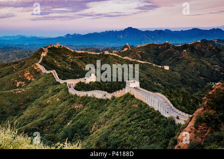 Sunrise at Jinshanling Great Wall of China, Jinshanling, Beijing, China - Stock Photo