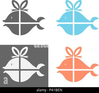 silhouette of fish in the package, gift ribbon fish minimalist restaurant logo, shop - Stock Photo