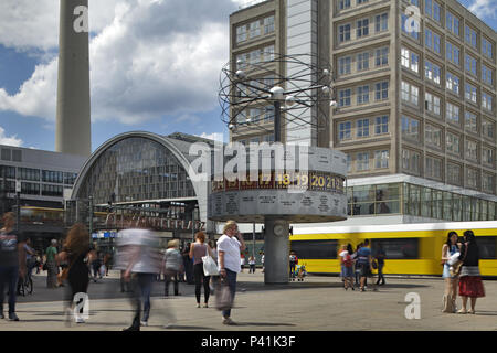 Berlin, Germany, passers-by on Alexanderplatz in Berlin-Mitte - Stock Photo