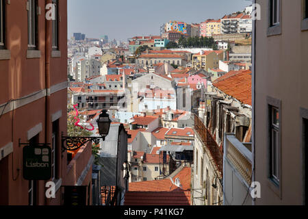 Lisbon, Portugal, view of the old town Alfama in Lisbon - Stock Photo