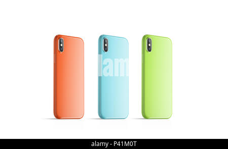 Blank coloured phone cases mock ups, stand left side isolated, Empty colorful smartphone side view cover mockup ready for logo or pattern print presentation. Cellphone protector cover concept. - Stock Photo