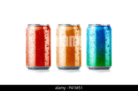 Blank colors aluminium soda can mockup with drops, 3d rendering. Empty fresh fizzy pop packing mock up with condensate, isolated. Canned dripping drink template. - Stock Photo