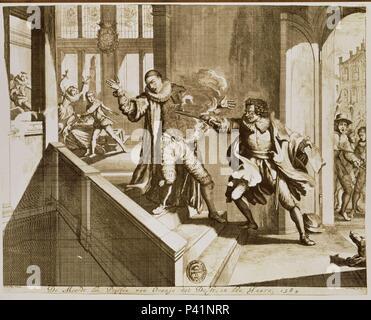 ASESINATO DE GUILLERMO DE ORANGE EN 1584 - GRABADO - ESTAMPA SIG ER.2901. Author: HOGE DE R. Location: BIBLIOTECA NACIONAL-COLECCION, MADRID, SPAIN. - Stock Photo